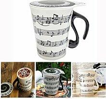Xrten Mug avec Couvercle Déco Notes de Musique,