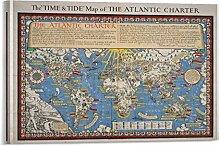xuyang Poster vintage carte du monde - Impression