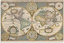 xuyang Poster vintage - Carte du monde - Peinture