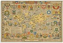 xuyang Poster vintage carte du monde - Toile