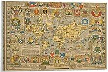 xuyang Poster vintage - Carte du monde vintage -