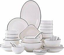 XWOZYDR 46 Pièces Vaisselle de la Porcelaine
