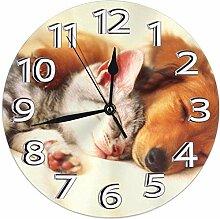 XXSCXXSC Horloge Murale Chat et Chien Rond Maison