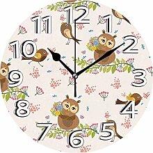 XXSCXXSC Horloge Murale Hiboux Horloge Silencieuse