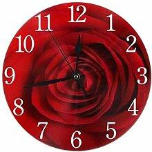 XXSCXXSC Horloge Murale Silencieuse Ronde Rose