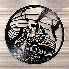 XYLLYT Guitare Design Vinyle Horloge Murale