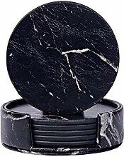 Yaeele 6pcs Home Décor marbre PU cuir ronde