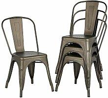 Yaheetech 4 x Chaise de Salle à Manger Industriel