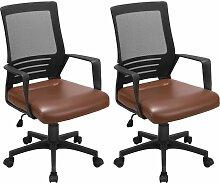 Yaheetech Lot de 2 Chaise de Bureau Ergonomique