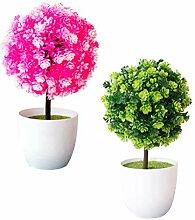Yardwe 2 Pcs Artificielle Plante en Pot Simulé
