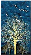 YCHND Abstrait Bleu ForêT Or Arbre Oiseau Toile