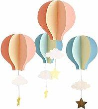 YeahiBaby 4pcs montgolfière 3D Guirlande Papier