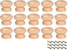YeVhear boutons en bois ronds, 15Pcs 28mm Dia