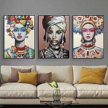 Yimesoy Abstrait Femme Africaine Toile Peinture