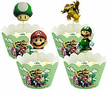Yisscen Cupcake Toppers et Wrappers de Mario