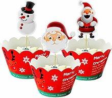Yisscen Cupcake Toppers et Wrappers de Père Noël
