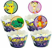 Yisscen Cupcake Toppers et Wrappers de Pikachu