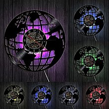yltian 3D Terre Horloge Murale Globe Carte