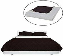 YOS Couvre-lits à double côtés Beige-Marron 220