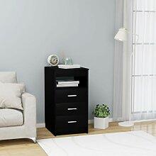 Youthup - Armoire à tiroirs Noir 40x50x76 cm
