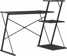Youthup - Bureau avec étagère Noir 116x50x93 cm