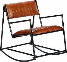 Youthup - Chaise à bascule Marron Cuir véritable