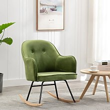 Youthup - Chaise à bascule Vert clair Velours