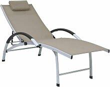 Youthup - Chaise longue Aluminium textilène Taupe