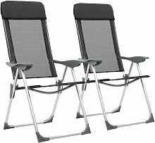Youthup - Chaise pliante de camping 2 pcs Noir