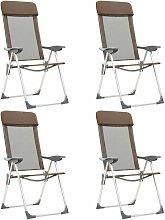 Youthup - Chaises de camping pliables 4 pcs Marron