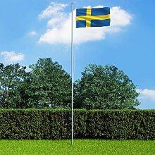 Youthup - Drapeau Suède et mat en aluminium 6,2 m