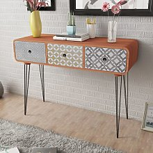 Youthup - Table console avec 3 tiroirs Marron