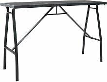 Youthup - Table de bar de jardin Noir 180x60x110
