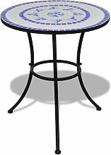 Youthup - Table de bistro Bleu et blanc 60 cm