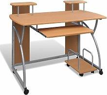 Youthup - Table de Bureau Brune pour Ordinateur