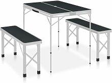 Youthup - Table de camping pliable avec 2 bancs