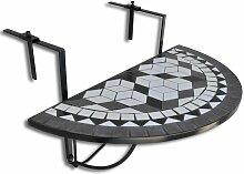 Youthup - Table suspendue de balcon Noir et blanc