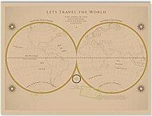 YQQICC Grande carte du monde Vintage fournitures