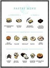 YQQICC Menu de pâtisserie illustré affiches et