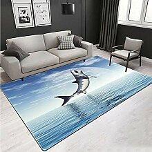 YQZS Tapis de Salon Design Tapis Court Pile Requin