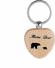 YSoutstripdu Porte-clés en bois en forme de cœur