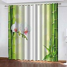 YTSDBB Rideau Opaque Fleur de Bambou Vert L 200 x