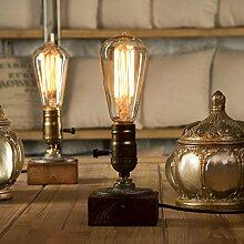 YUENSLIGHTING E27 vintage blocs en bois lampe de