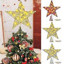 YuKeShop Étoile de sapin de Noël à paillettes