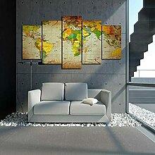 YYPGY3 Carte du Monde 5 pièces décoration de la