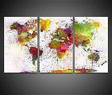 YYUI 3 Parties Toile Murale Decor Canvas Continent