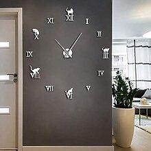 Yzybw Horloge Murale 3D Mute Chat 37 Pouces Argent