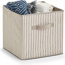 Zeller Boîte de Rangement Pliable Stripes Beige