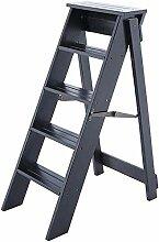 ZEQUAN Escabeau Pliant Ladder pédale en Bois 5