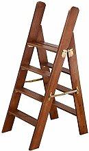 ZEQUAN Marchepied en Bois Massif Pliant Ladder 4